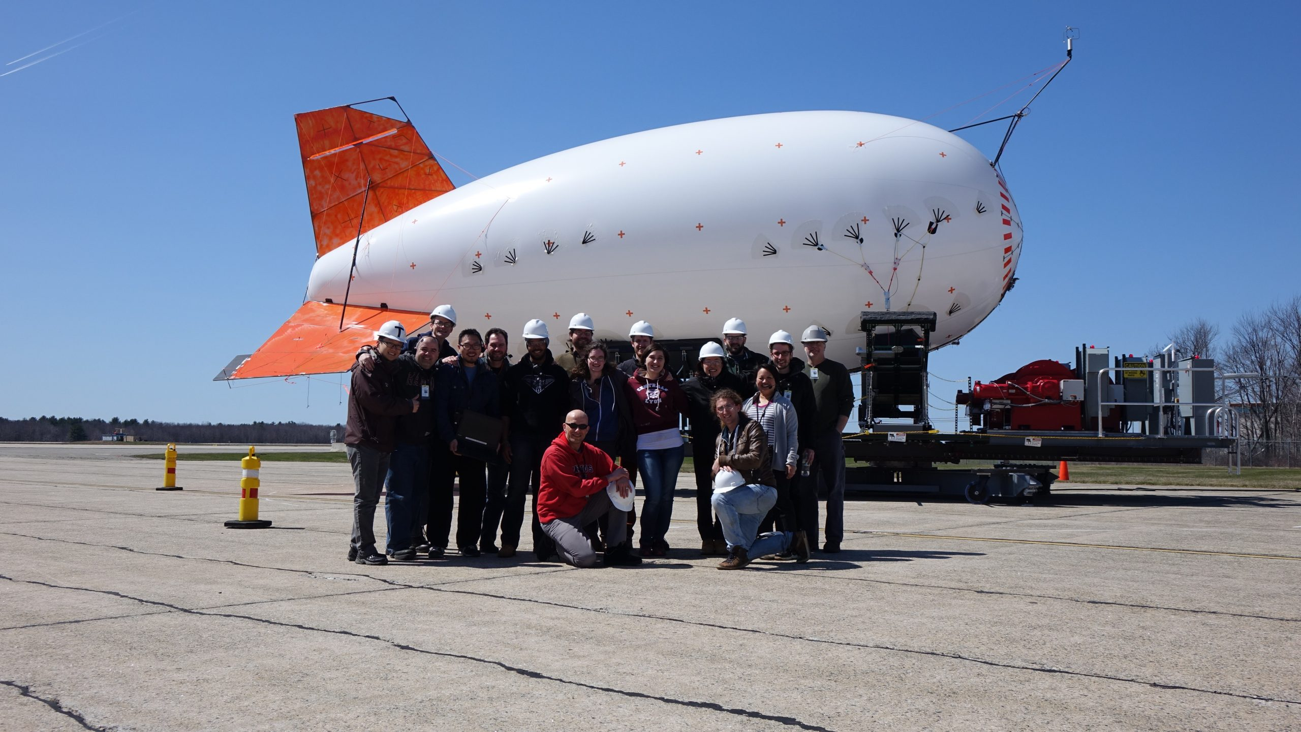 The Altaeros team standing in front of a SuperTower prototype