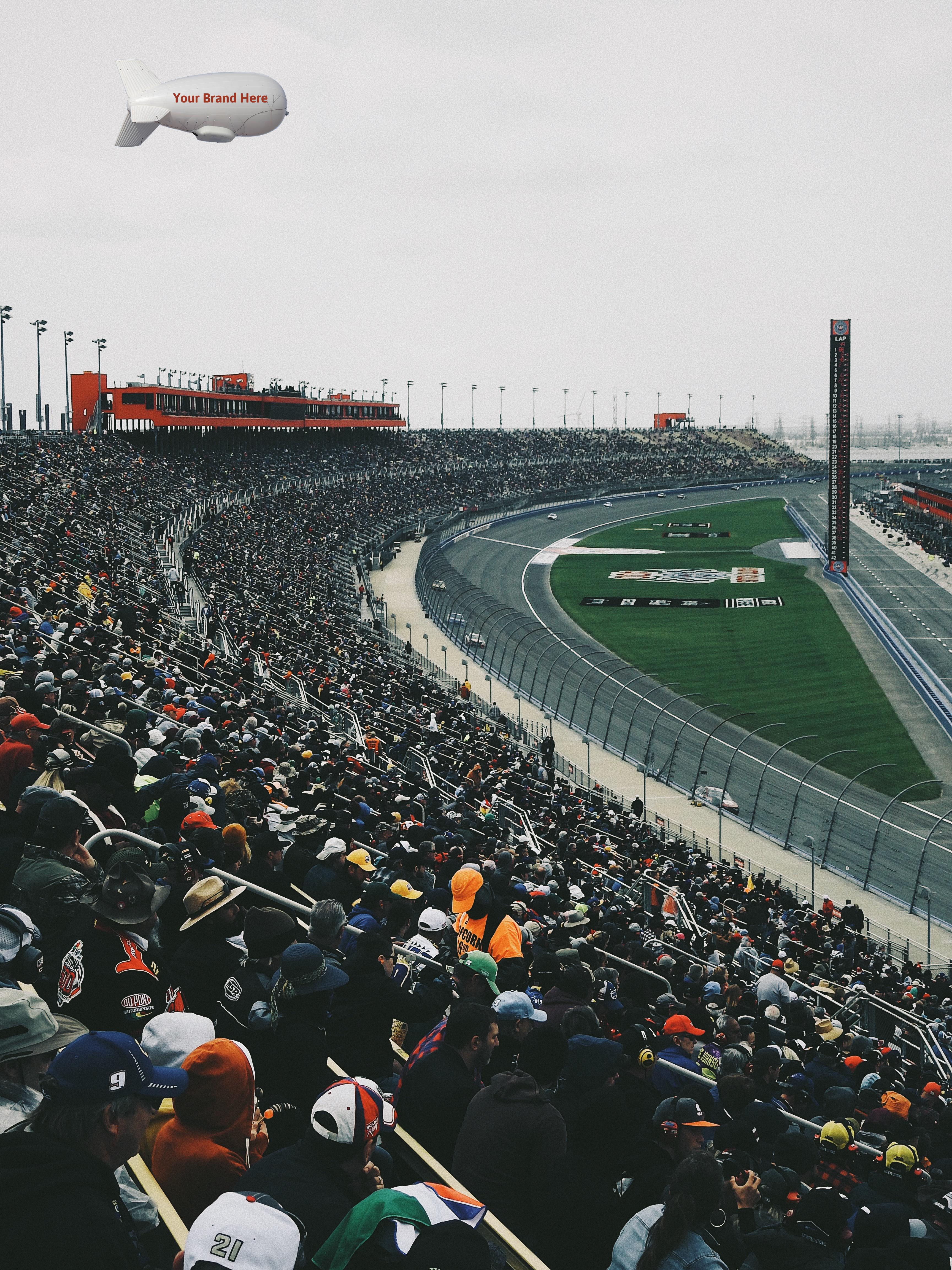 A SuperTower floats over a NASCAR race