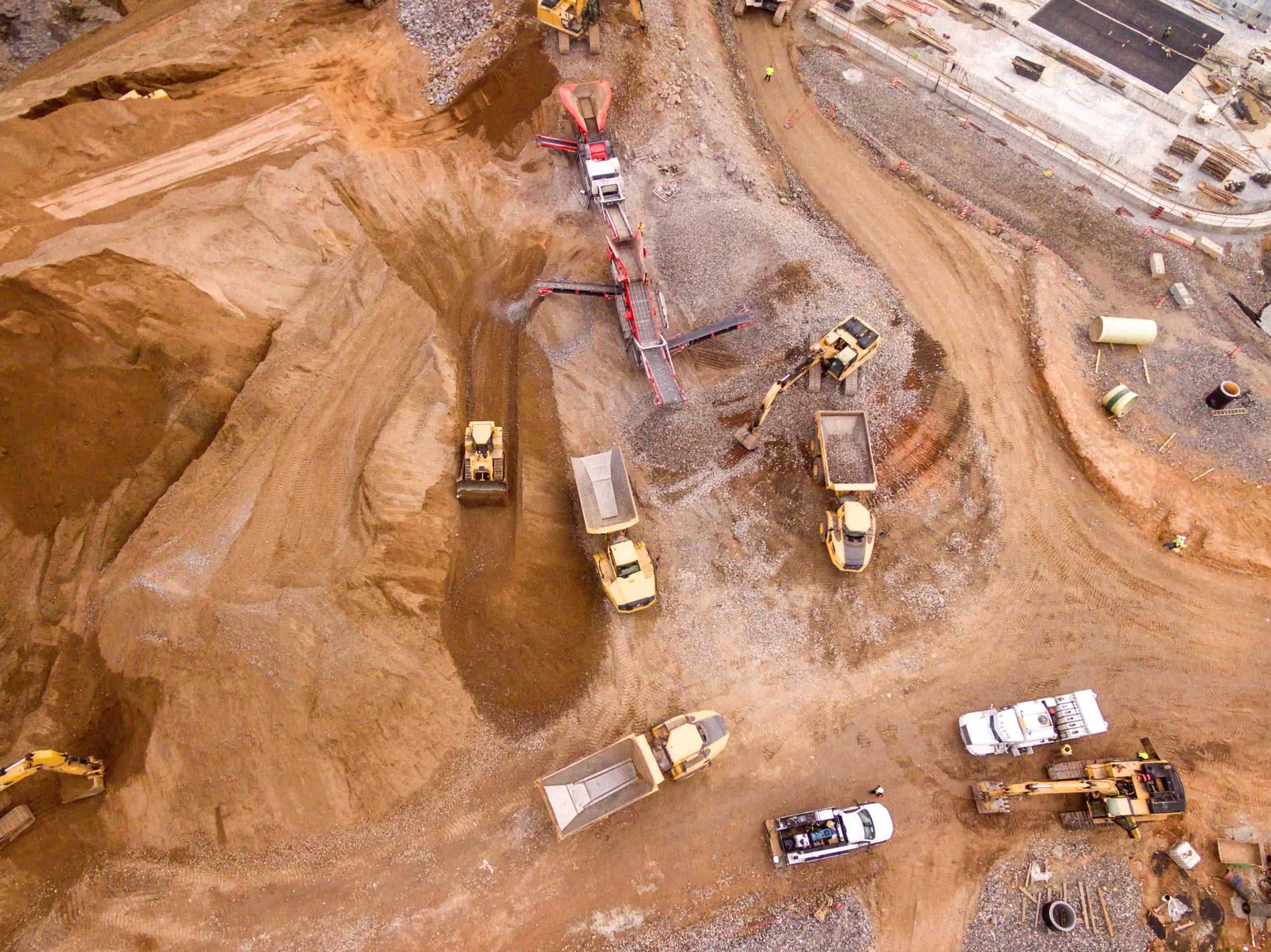 Trucks at a mining site